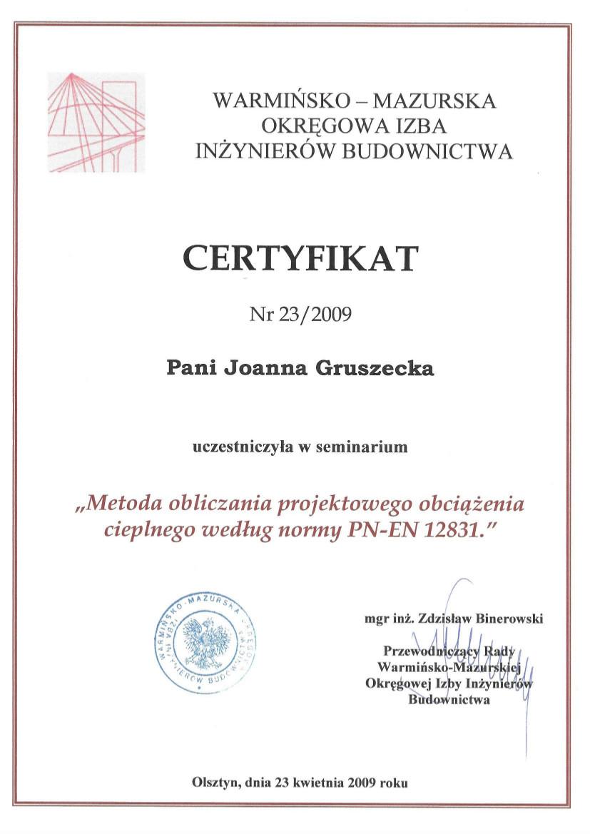 Certyfikat seminarium