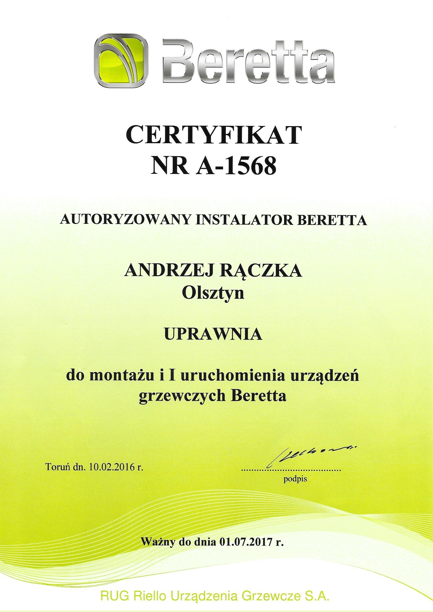 Beretta Certyfikat